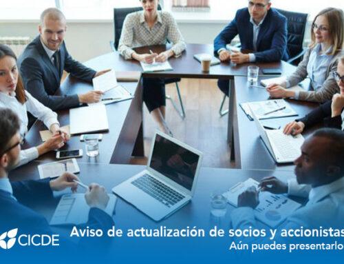 Aviso de actualización de socios y accionistas. Aun puedes presentarlo