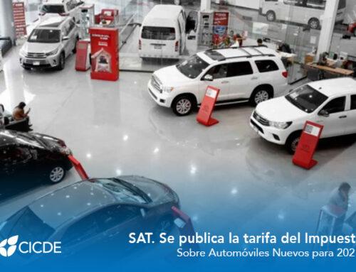 SAT. Se publica la tarifa del Impuesto Sobre Automóviles Nuevos para 2021.